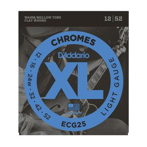 D'Addario XL ECG25 Chromes Flat Wound Jazz Light 12-52