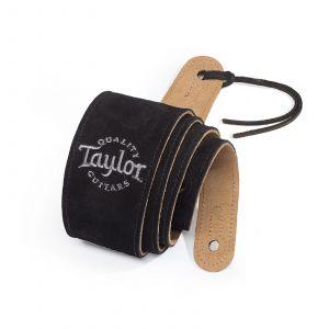 Taylor Black Suede Logo Guitar Strap