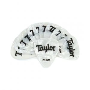 Taylor Celluloid 351 Picks, White Pearl, 0.71mm, 12-Pack