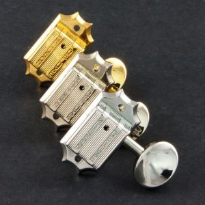 TonePros Clavijeros Kluson 3 + 3, Round metal button (Cromado)