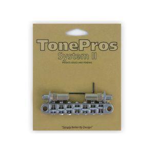 Puente TonePros TP7-C Tuneomatic Métrico, postes grandes y silletas con muesca, 7 cuerdas