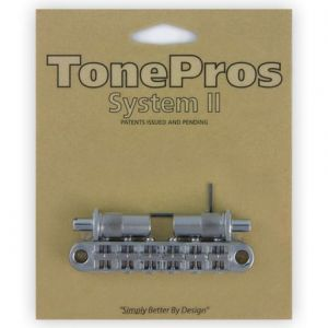 TonePros Tune-O-Matic Bridge Metric, Large Posts and Notched Saddles (Chrome)