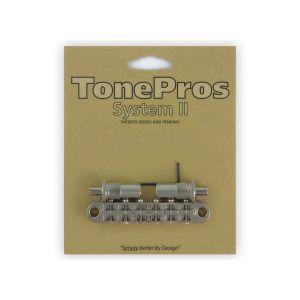 TonePros Tune-O-Matic Bridge Metric, Large Posts and Notched Saddles (Nickel)