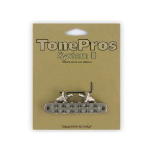 TonePros Tune-O-Matic Bridge Standard, Small Posts and Notched Saddles (Nickel)