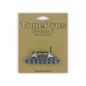 TonePros Tune-O-Matic Bridge Standard, Small Posts and Notched Saddles (chrome)