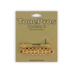 TonePros Tune-O-Matic Bridge Metric, Large Posts and Notched Saddles, 7 String (Gold)