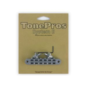 TonePros Tune-O-Matic, Small Posts and Notched Saddles (Satin Chrome)