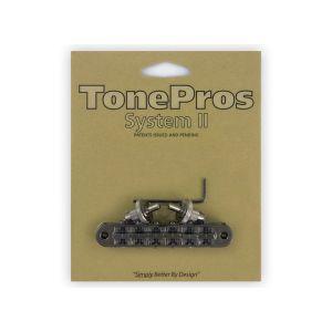 TonePros Tune-O-Matic Bridge Standard, Small Posts and Notched Saddles (Black Chrome)