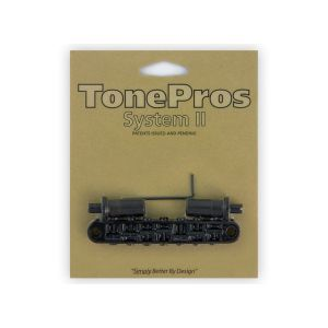 TonePros Tune-O-Matic Bridge Metric, Large Posts and Notched Saddles, 7 String (Black)