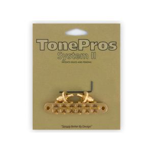 TonePros Tune-O-Matic Bridge Standard, Small Posts and Notched Saddles (Gold)