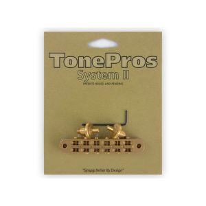 TonePros Tune-O-Matic Bridge, Small Posts and Notched Saddles (Satin Gold)