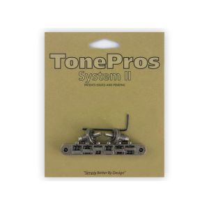 TonePros NVR2-AS Tune-O-Matic Bridge, AVR2 with Nashville Post (Antique Silver)