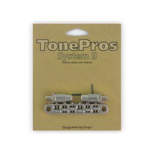 TonePros Tune-O-Matic Bridge Metric, Large Posts and Notched Saddles, Roller (Nickel)