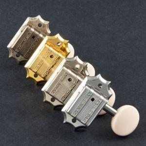 TonePros TPKBW-G Tuners Kluson 3 + 3, Round white button (Gold)
