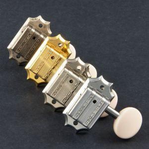 TonePros Tuners Kluson 3 + 3, Round white button (Antique Silver)