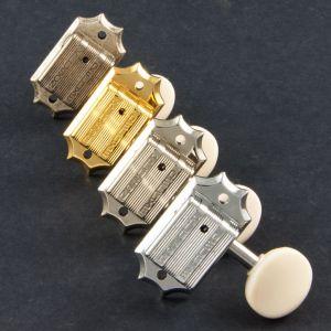 TonePros TPKGW-G Clavijeros Kluson 3 + 3, Drop in, White button (Dorado)
