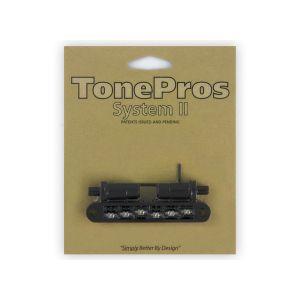 Puente TonePros Tuneomatic TPFR-B Métrico, postes grandes y silletas con muesca, Roller (negro)