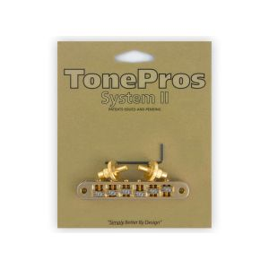 TonePros Tune-O-Matic Bridge Standard, Small Posts, Roller (Gold)