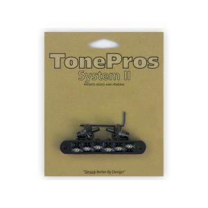 TonePros Tune-O-Matic Bridge Standard, Small Posts, Roller (Black)
