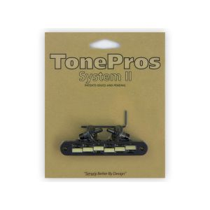 Puente TonePros Tune-O-Matic Standard, postes pequeños, ''G Formula Saddles'' (negro)
