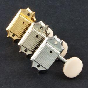 TonePros Tuners Kluson 3 & 3, Round White button, Vintage single line (Nickel)