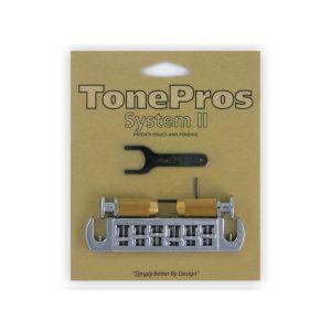 TonePros AVT2M-C Wraparound Bridge + Locking Studs Metric, Large Caps (Chrome)