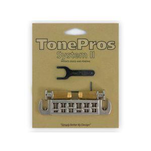 Pack puente TonePros Wraparound + tornillos de bloqueo Standard, cabeza grande (níquel)