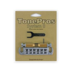TonePros AVT2G-C Wraparound Bridge + Locking Studs Standard, Small Caps (Chrome)