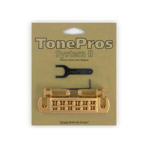 TonePros AVT2P-SG Wraparound Bridge + Locking Studs Standard, Large Caps (Satin Gold)