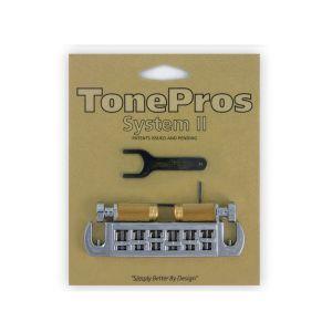 TonePros AVT2G-B Wraparound Bridge + Locking Studs Standard, Small Caps (Black)