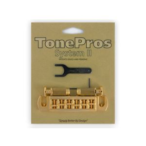 TonePros AVT2P-G Wraparound Bridge + Locking Studs Standard, Large Caps (Golden)