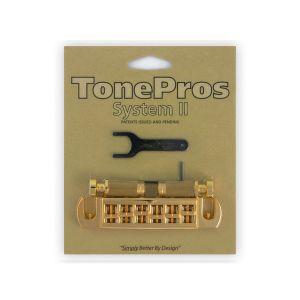 TonePros AVT2G-G Wraparound Bridge + Locking Studs Standard, Small Caps (Gold)