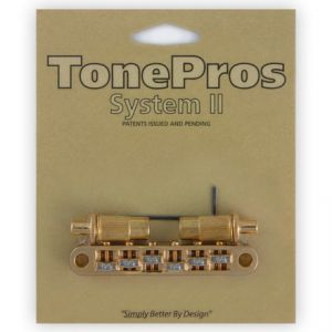 TonePros Tune-O-Matic Bridge Metric, Large Posts and Notched Saddles, Roller (Gold)