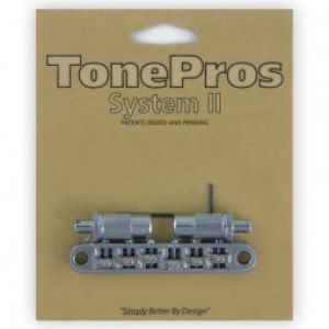 TonePros Tune-O-Matic Bridge Metric, Large Posts and Notched Saddles, Roller (Chrome)