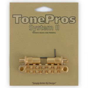 TonePros Tune-O-Matic Bridge Metric, Large Posts and Notched Saddles (Gold)