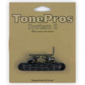 TonePros Tune-O-Matic Bridge Standard, Small Posts and Notched Saddles (Black)